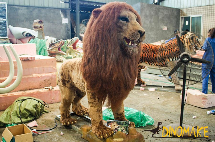 Animatronic lion in workshop