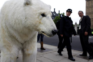 polar bear costume for street prank