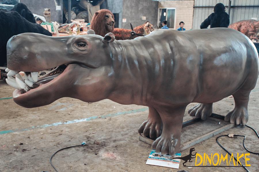 Animatronic Hippo in workshop