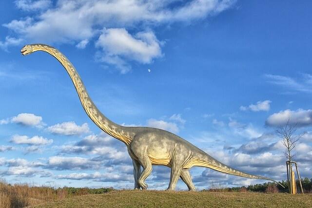 A Brachiosaurus statue in park