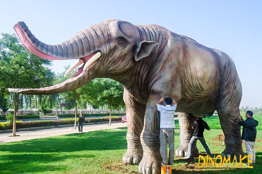 Animatronic Platybelodon in park