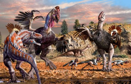 Therizinosaurus are protecting their children