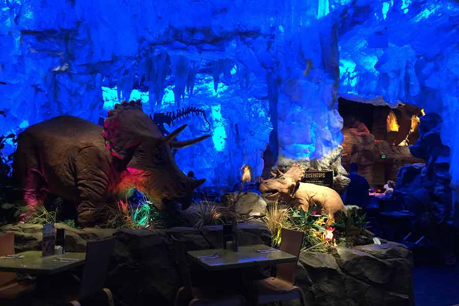 Inside the dinosaur theme restaurant