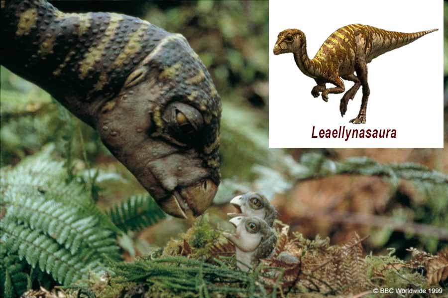 Leaellynasaura feeding its baby