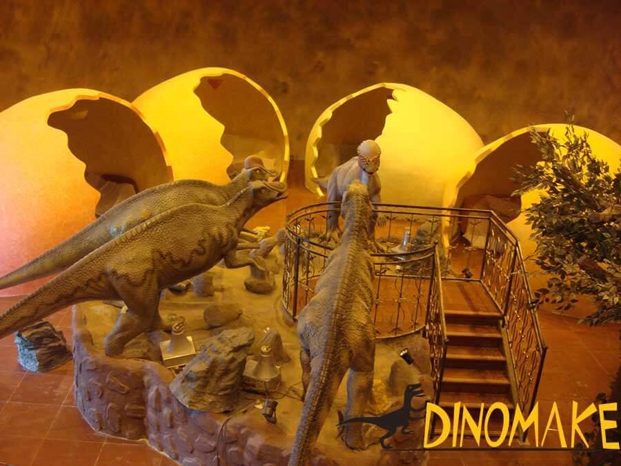 Dinosaurs displayed in restaurant