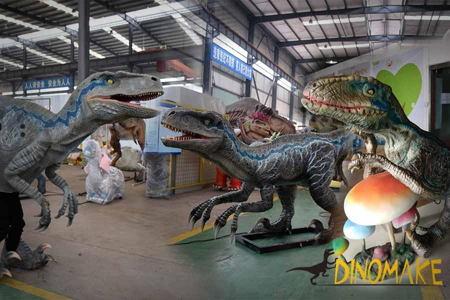Blue raptor animatronic props