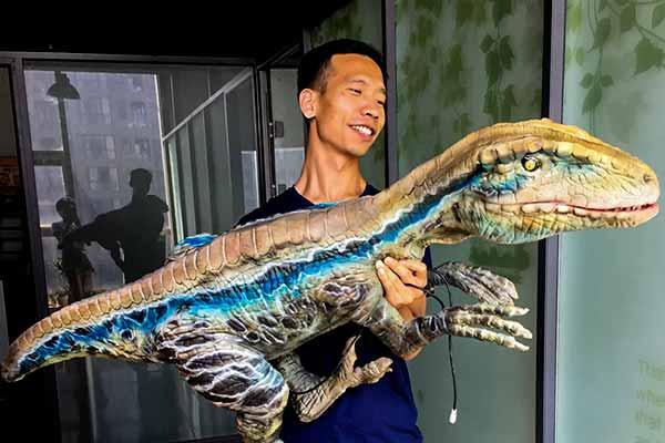 Blue raptor hand puppet