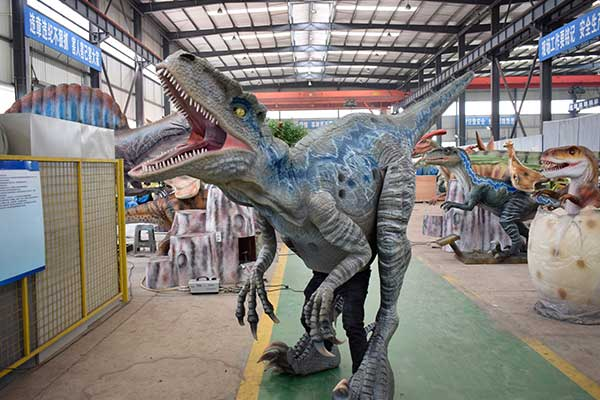 Blue velociraptor costume