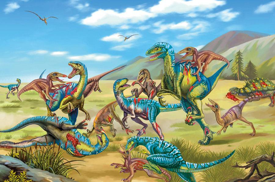 Battle between Velociraptor and Deinonychus