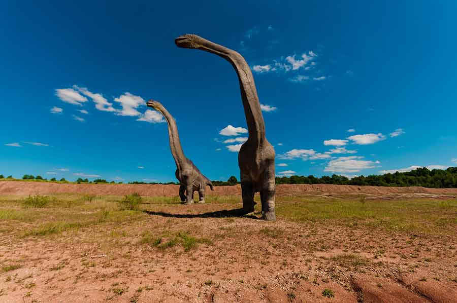 Fiberglass Brachiosaurus in a theme park