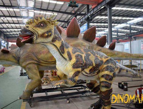 Realistic Animatronic Pachycephalosaurus statue