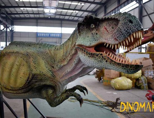 Animatronic T-rex Bust Statue On The Wall