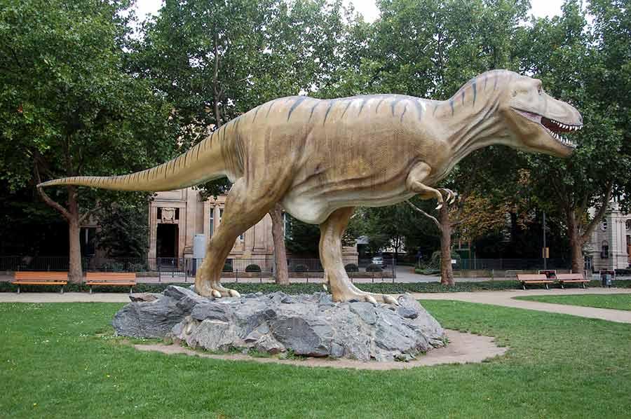 Tyrannosaurus statue in a school