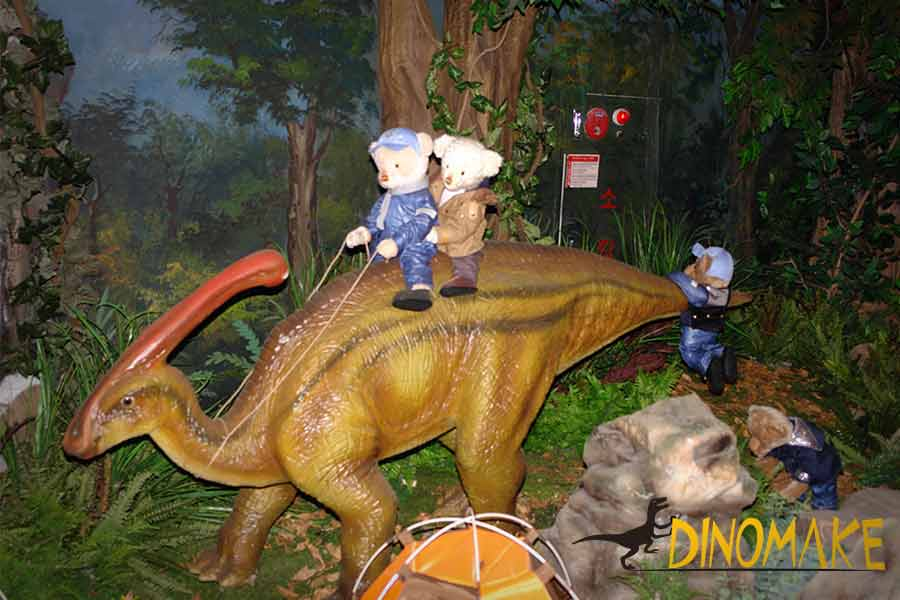 Teddy bear ride on Parasaurolophus