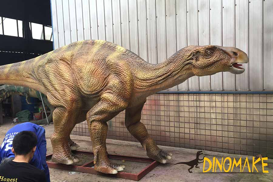 Maiasaura dinosaur statue in the workshop