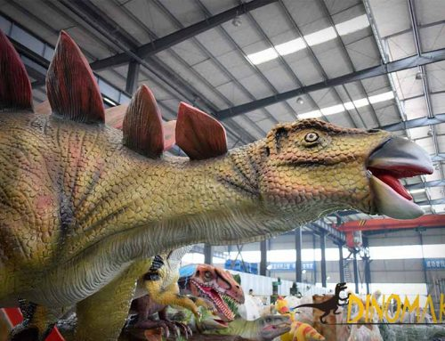 Animatronic Stegosaurus in the factory
