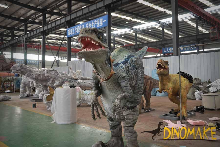 velociraptor suit in the factory