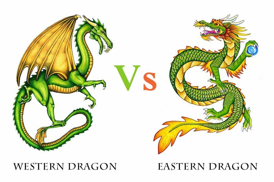 Western dragon and eastern dragon