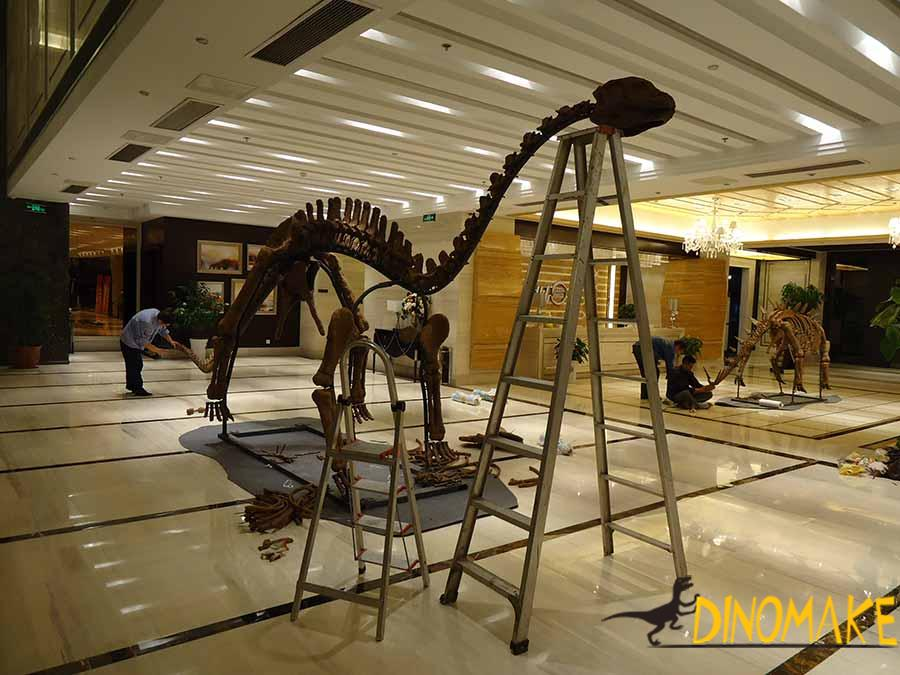 dinosaur skeleton installation
