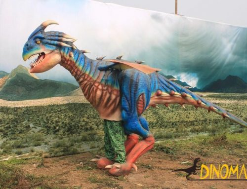 Animatronic Dinosaur costume parade in group