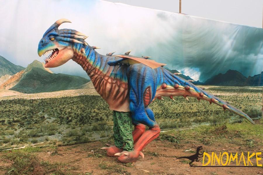 Animatronic Dinosaur costume parade in group