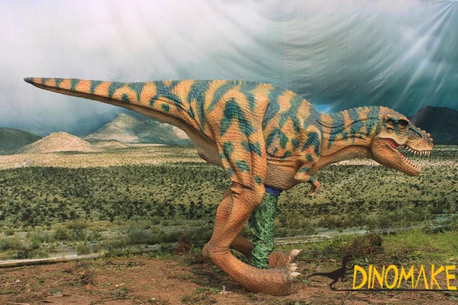 Animatronic Dinosaur costumes parade in group