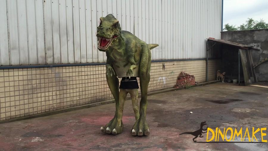 Green color customized visible legs dinosaur costumes with furs