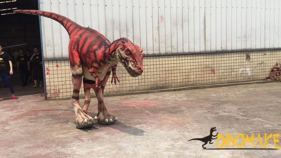 Green color customized visible legs walking dinosaur costumes with furs