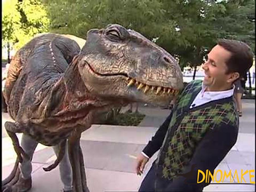 Interacting with walking dinosaur costume