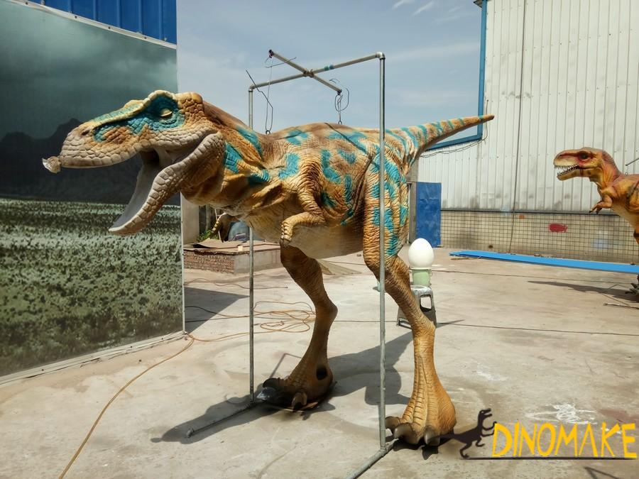 Interacting with walking dinosaurs costume