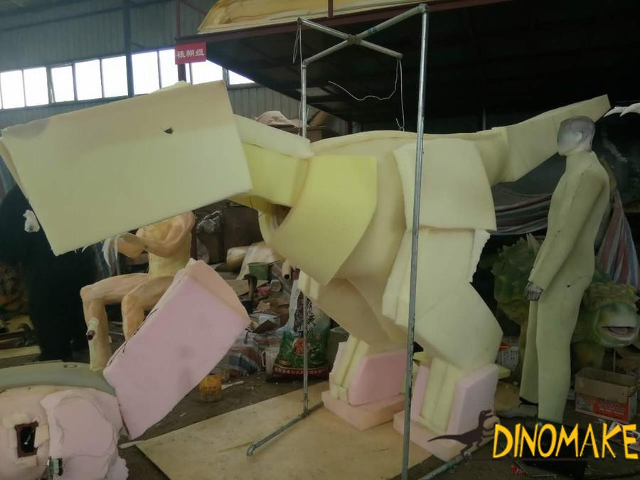 Want to interact with the walking dinosaur costume
