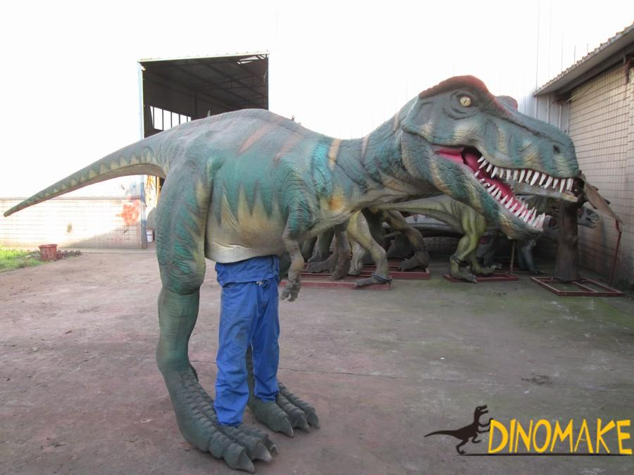 Adult wear T-Rex Dinosaur costume performing at festival