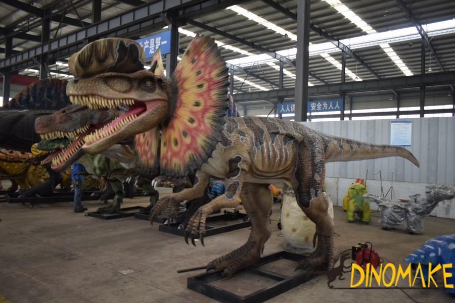 Animatronic Dinosaur Dilophosaurus Model in Theme Park