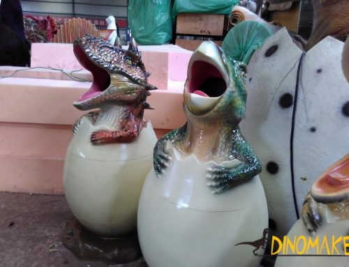 Realistic Animatronic Dinosaur trash can