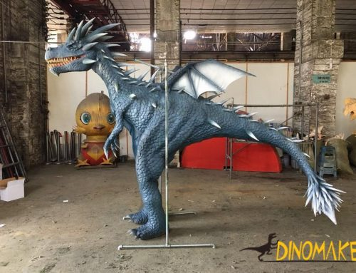 Animatronic costume walking with realistic western dragon suit