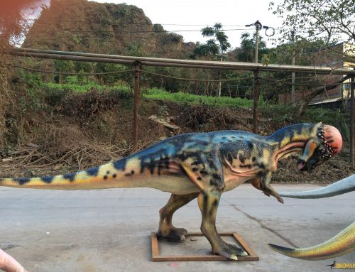 Animatronic dinosaur and dinosaur costumes in factory Dozens of steel frames