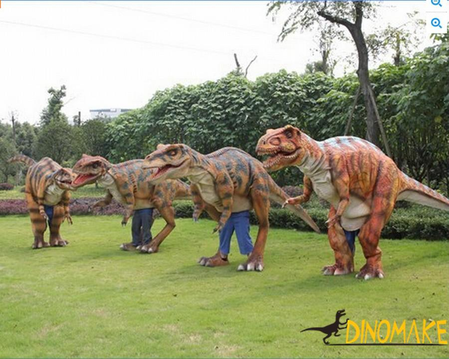Animatronic dinosaur costume is used in adult performances.