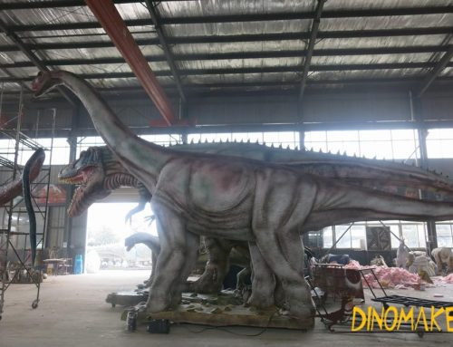 Animatronic dinosaur model with motion and sound