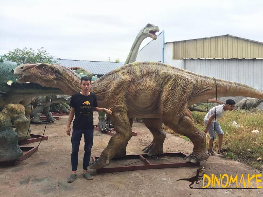 Animatronic dinosaur product being manufactured in the factory