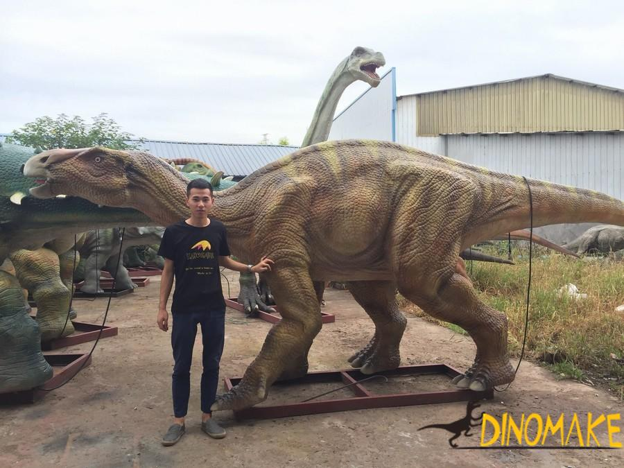 Animatronic dinosaur products being manufactured in the factory