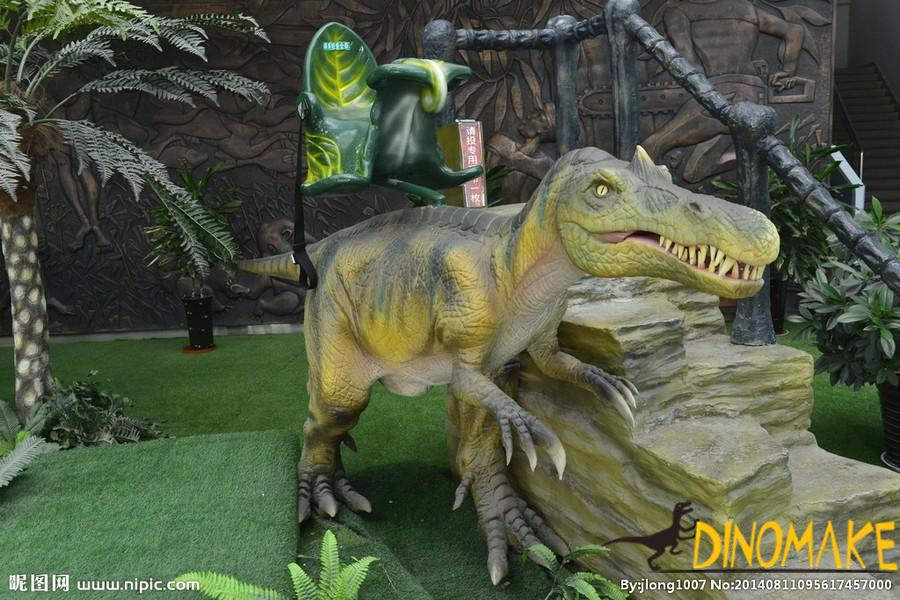 Animatronic walking dinosaur ride for children