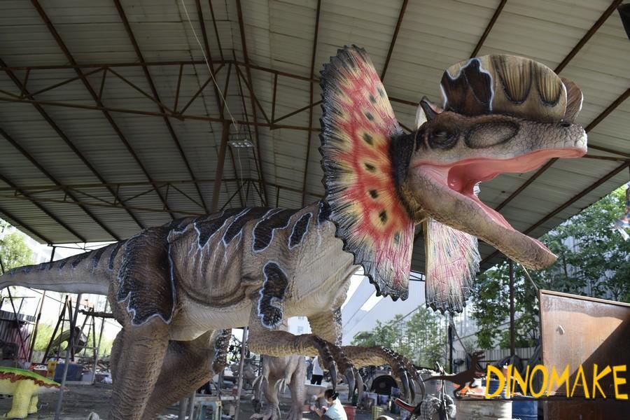 High Animatronic Dinosaur Model in Theme Park
