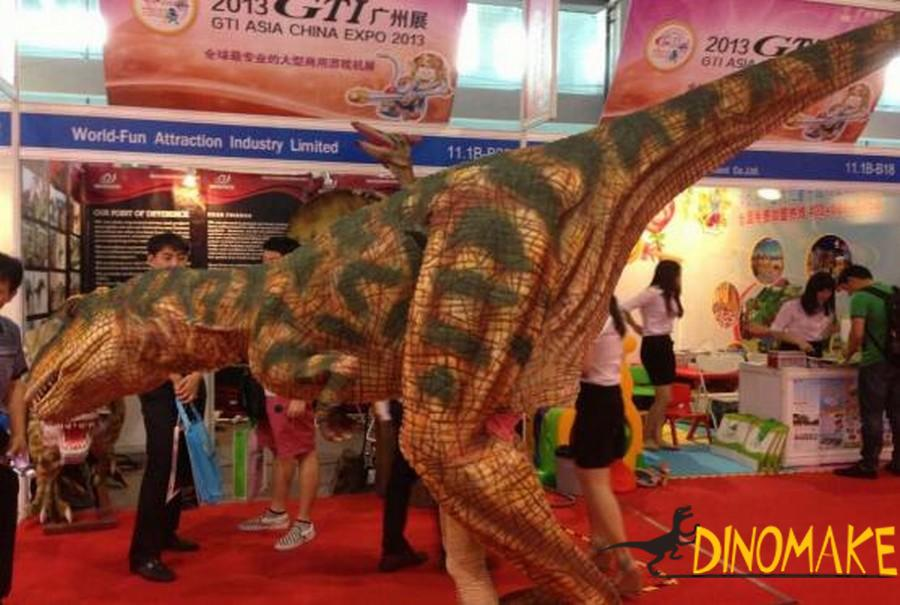 Real animatronic dinosaur costume is children's birthday present