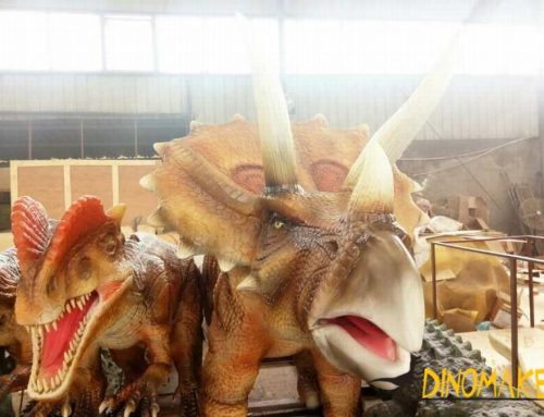 Real movie dinosaur props artificial walking Animatronic Dinosaur triceratops