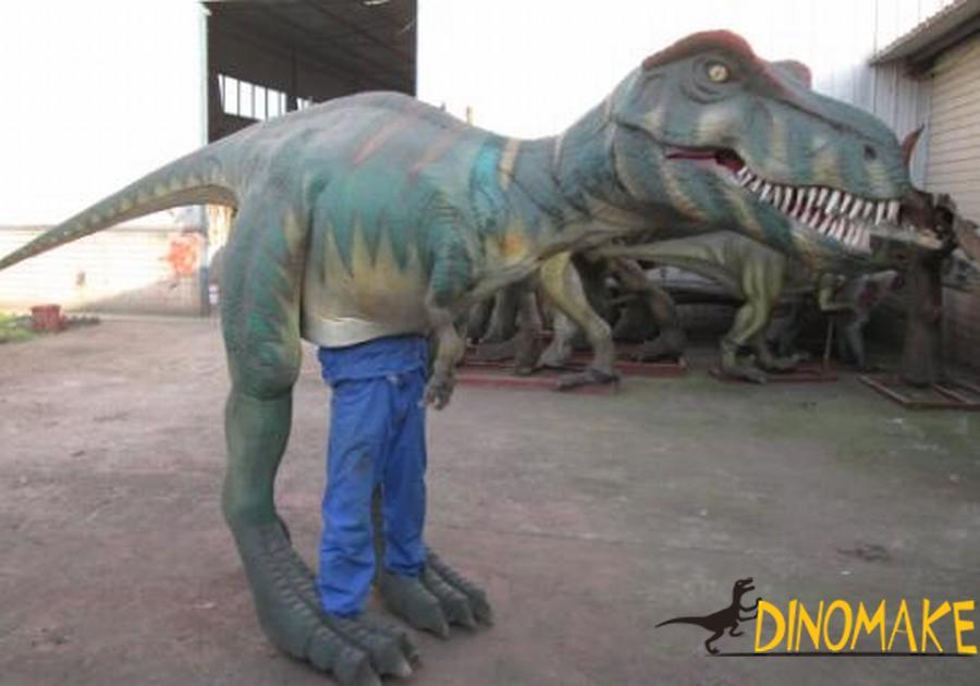 Realistic dinosaur costume walk on the bustling streets