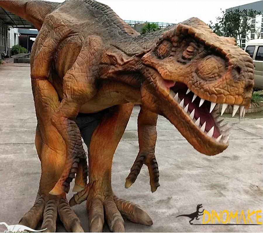 Realistic dinosaur costumes walk on the bustling streets