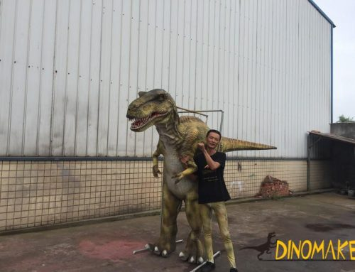 Realistic walking dinosaur costumes of Jurassic