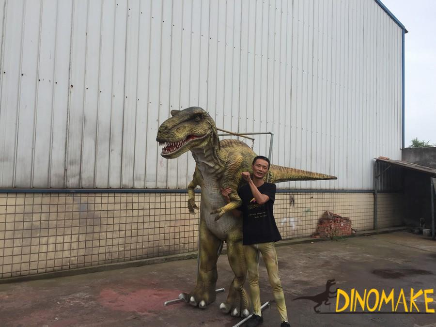 Realistic walking dinosaur costume of Jurassic