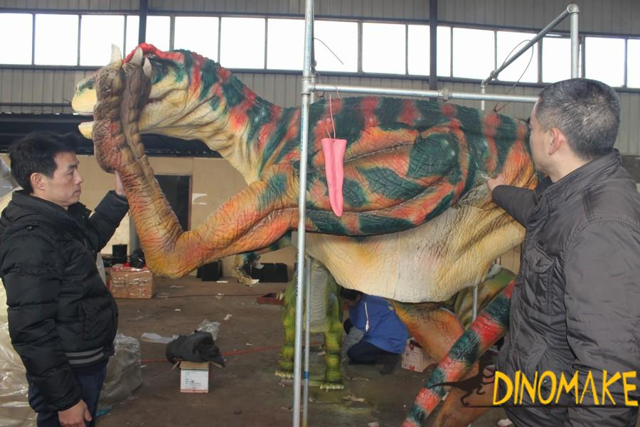 T-Rex Dinosaur costume performing at festival