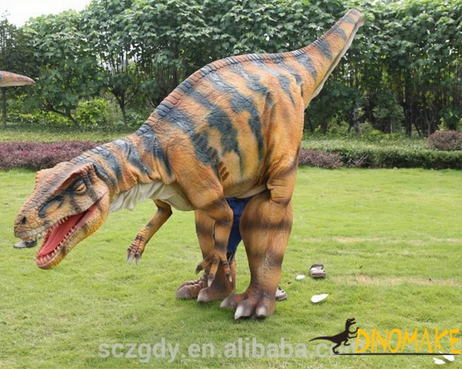 The finished product of Animatronic dinosaur costume is used in adult performances.